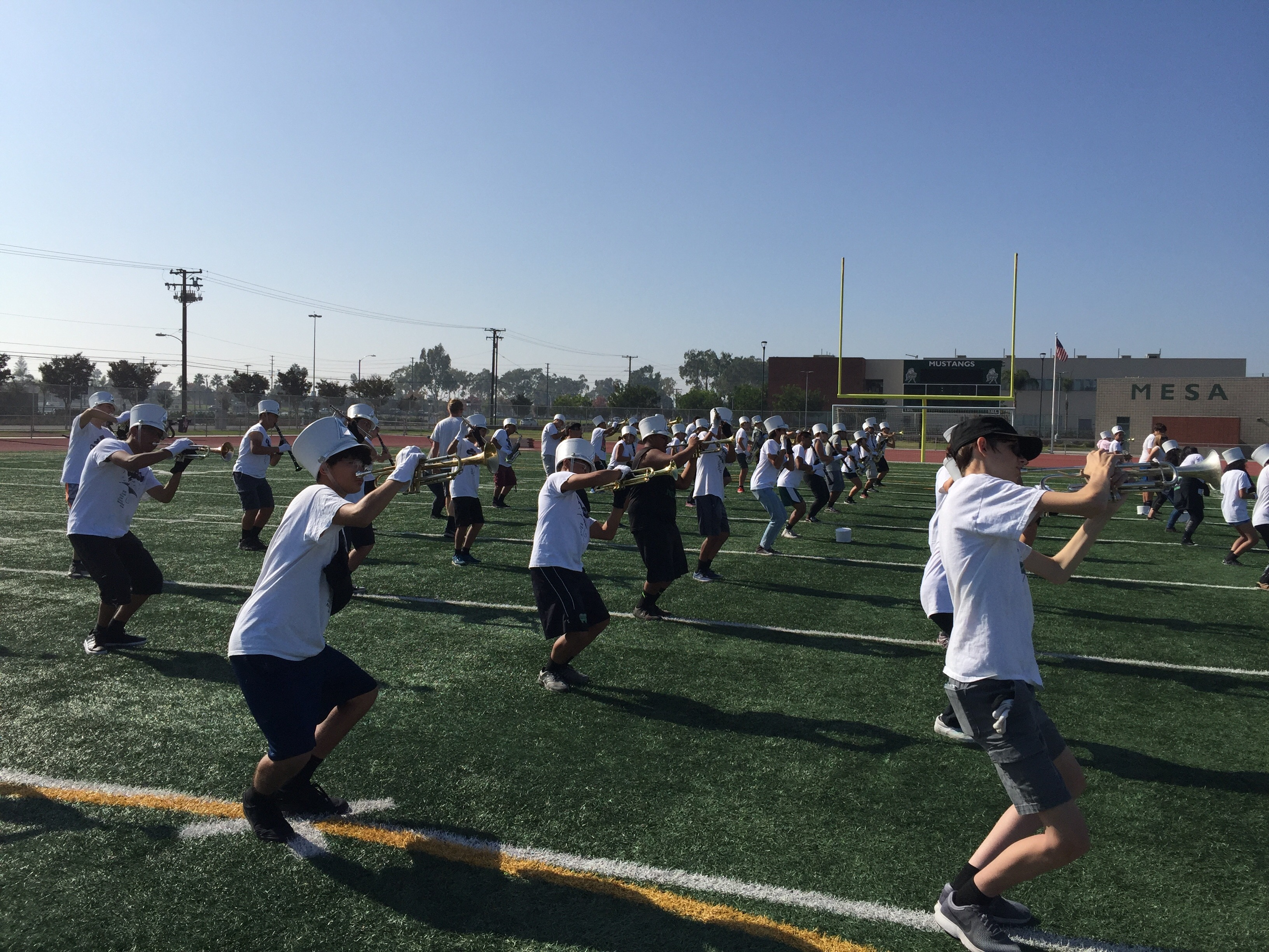 2019 marching band rehearsing