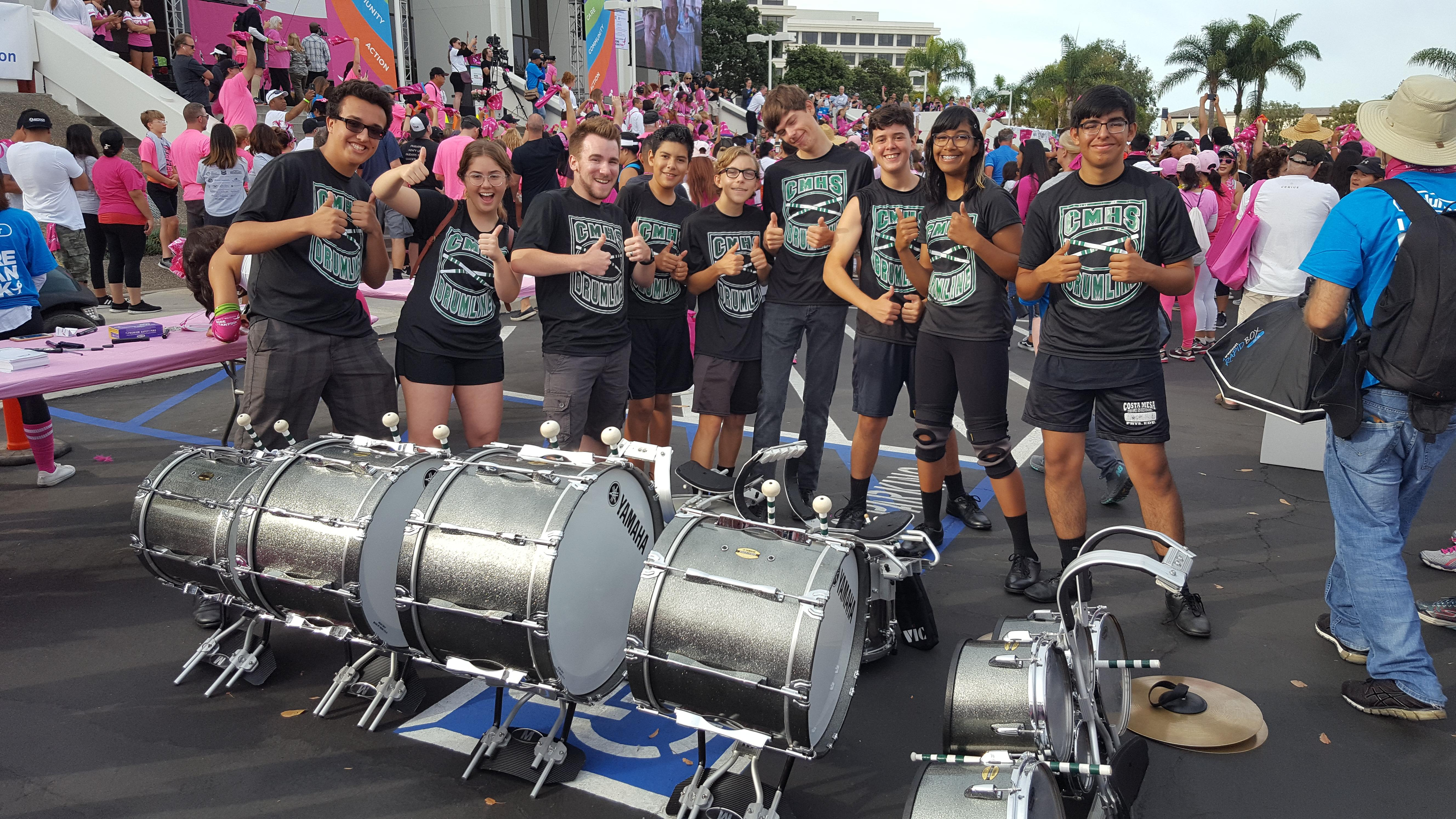 drumline at walk for breast cancer event