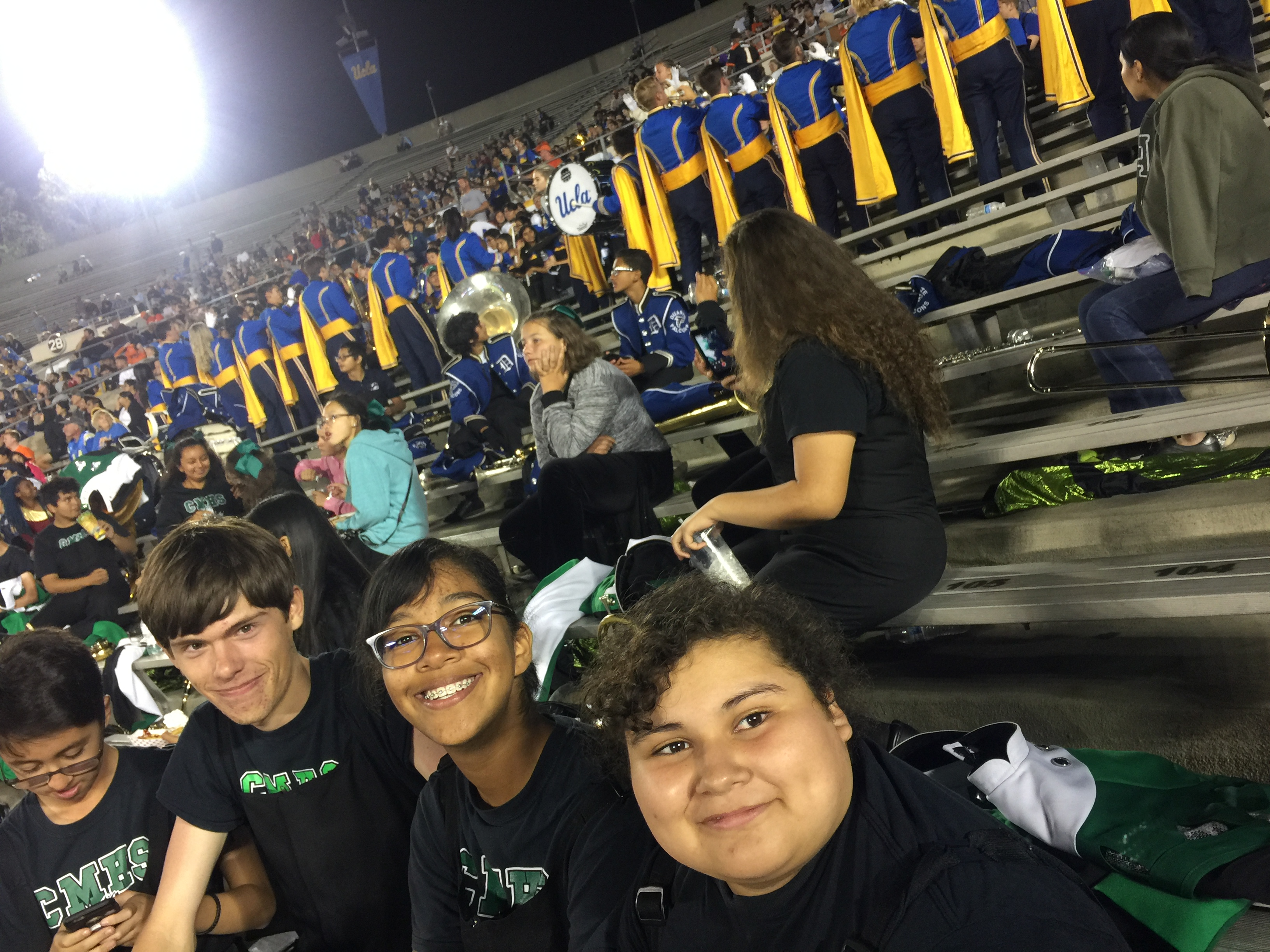 in the stands at UCLA band day