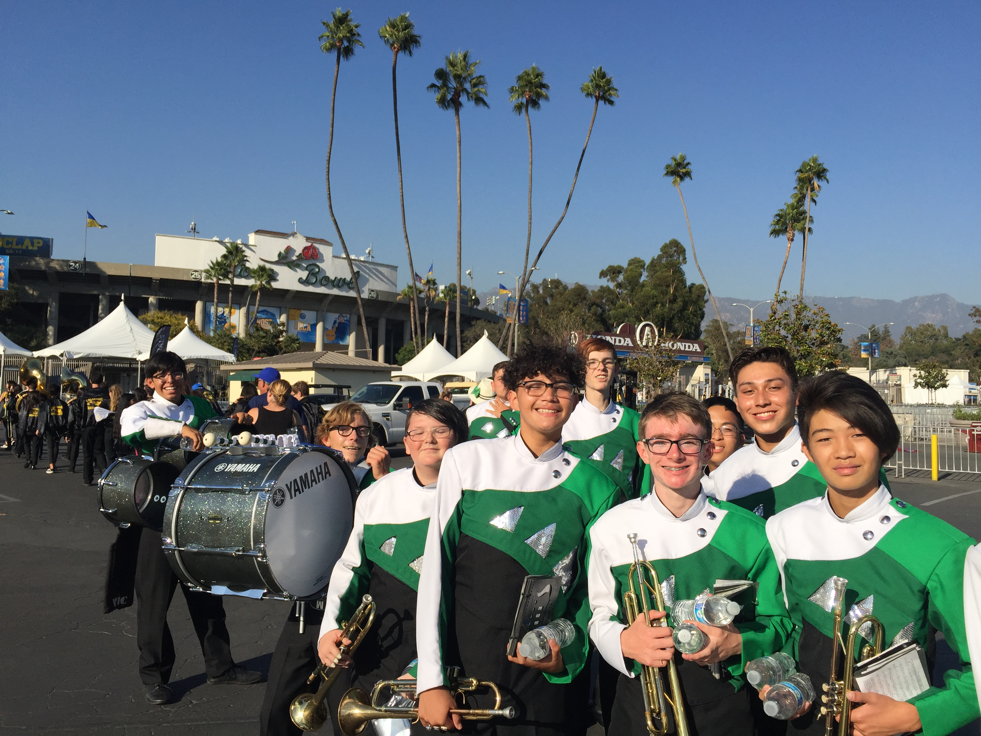 outside the Rose Bowl at UCLA Band Day
