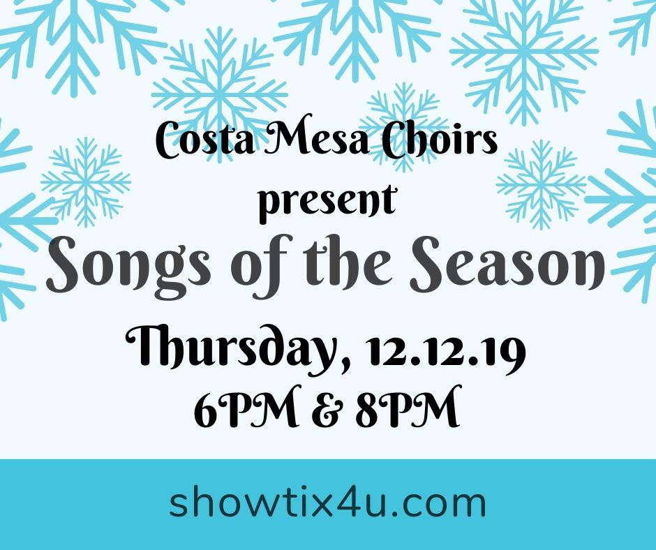 Songs of the Season Thursday 12/12/19 6 and 8 pm