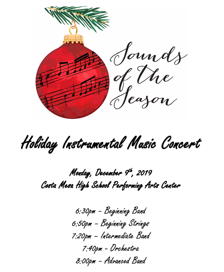 Sounds of the Season Holiday Music Concert Monday, December 9th 6:30 pm