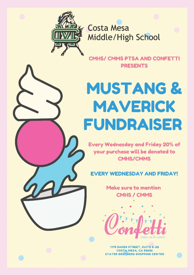 Mustang and Maveric Fundraiser every Wednesday and Friday