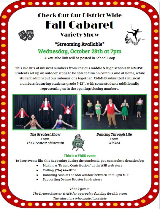 Fall Cabaret Variety Show Wednesday, October 28th at 7 pm