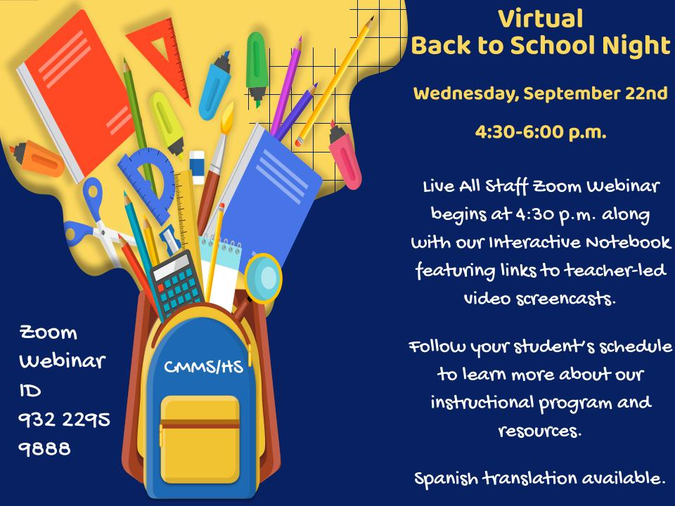 Back to School Nigh - September 22nd, 4;30-6 p.m.