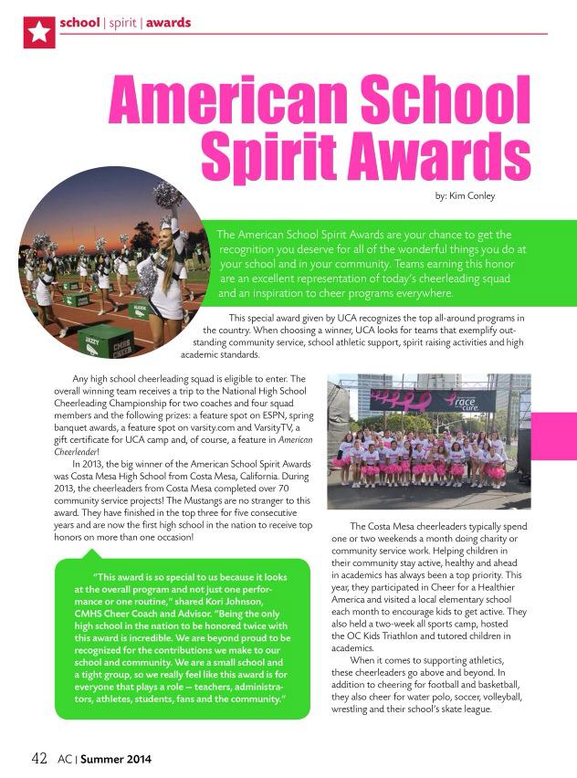 CMHS Cheer featured in AMerican Cheer Magazine