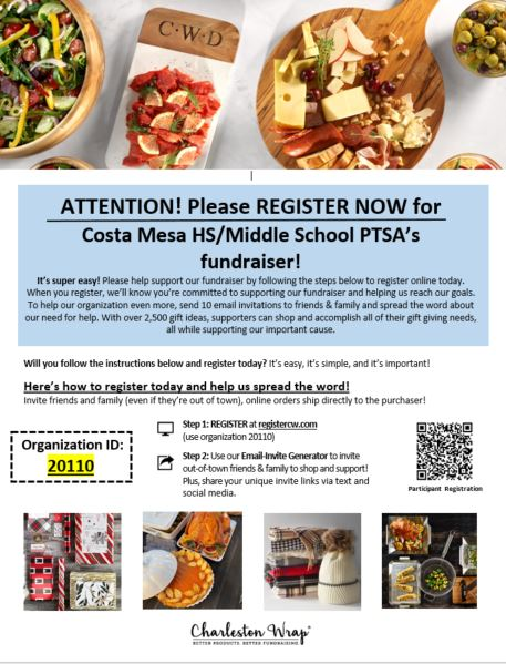 Please register now for the CMMS/HS Fundraiser