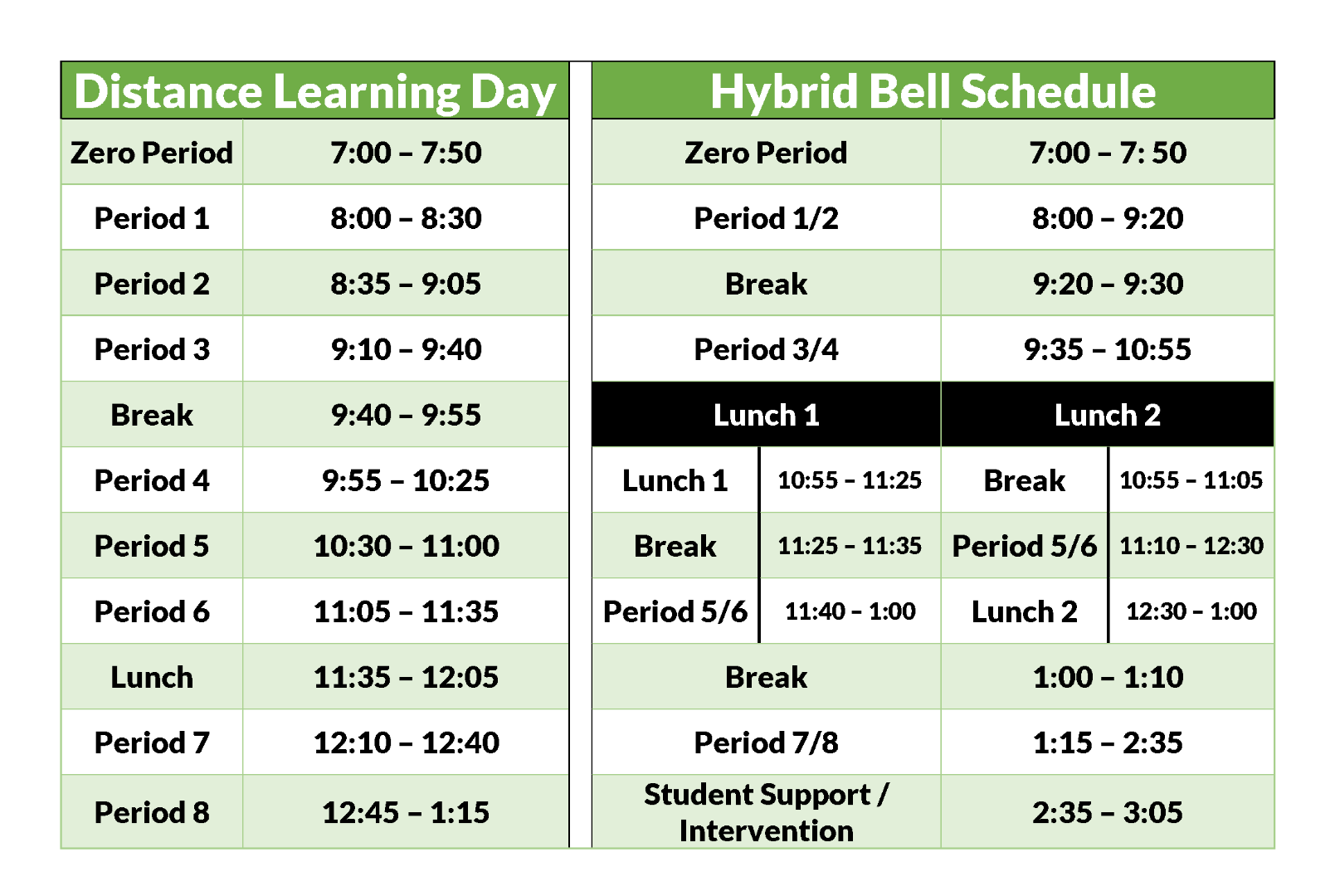Distance Learning Day, Hybrid Bell Schedule