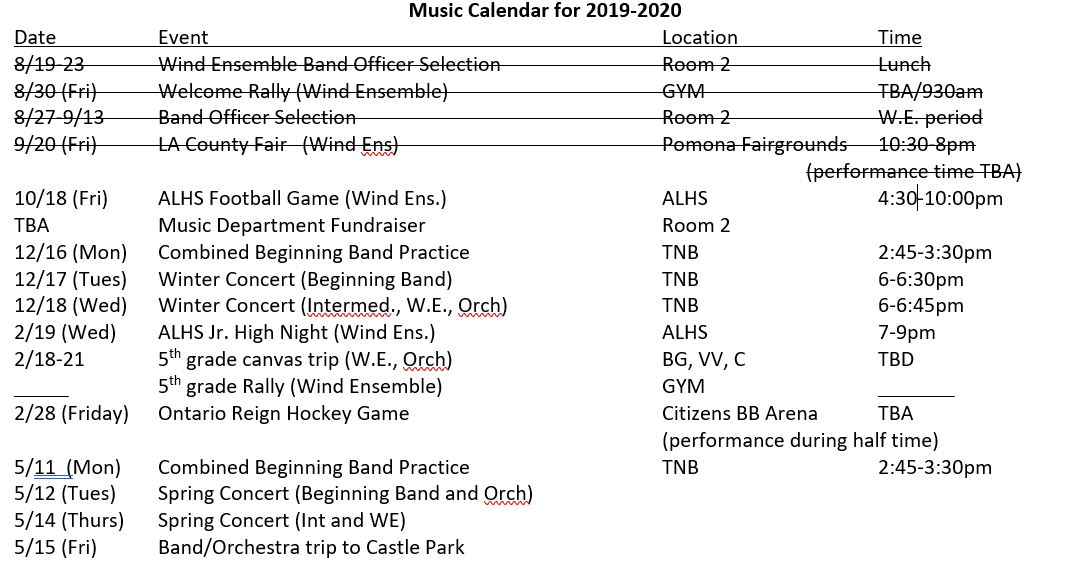 Music Calendar for 19-20 school year
