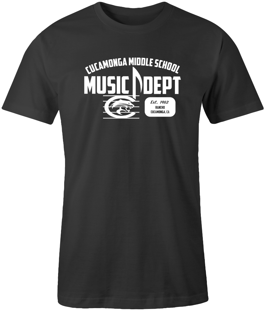 black shirt with cucamonga middle school music department logo