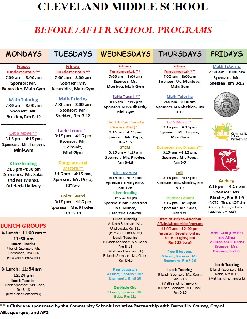 Image of before, lunch, and after school weekly programs and activities held on  Cleveland Middle School campus Monday through Friday.