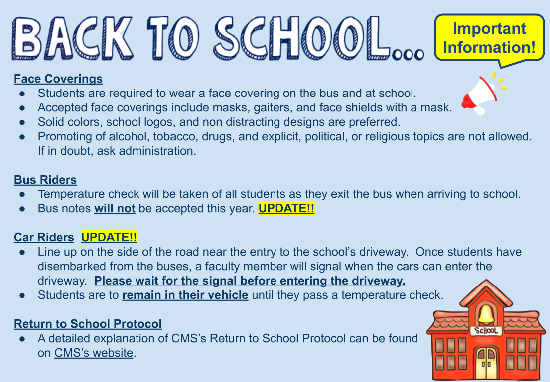Updated information for start of school