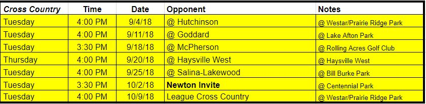 cross country team schedule