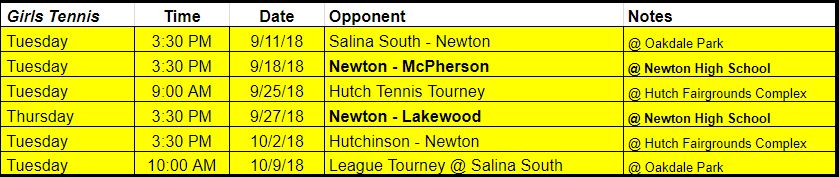 girls tennis schedule