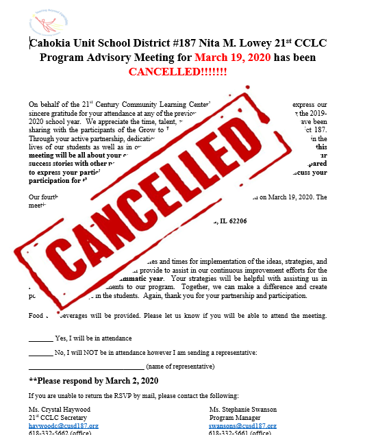 Cancelled Advisory Meeting March 19, 2020