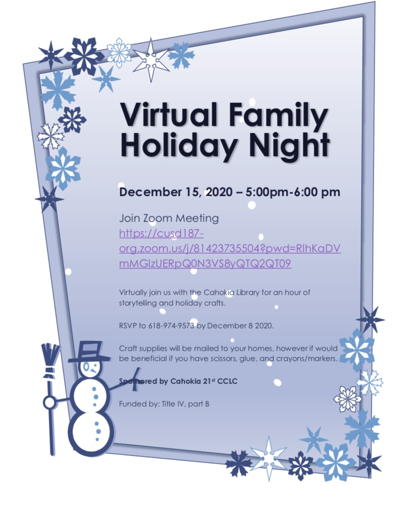 Holiday Night with the Cahokia Library Come Join Us!!!! December 15, 2020