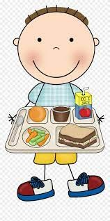 cartoon student with school lunch tray of food