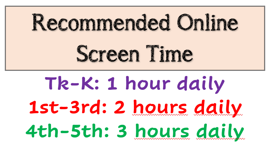 Recommended Online Screen Time