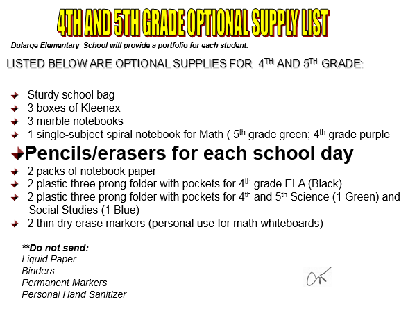 4th and 5th supply list