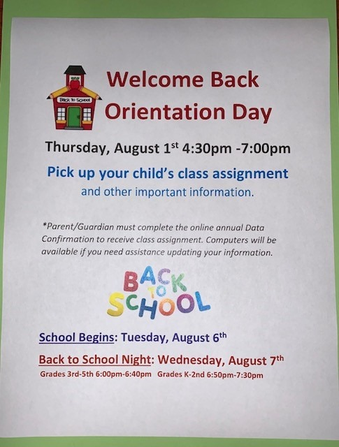 Pick up your child's class assignment on 8/1/19 between 4 and 7 pm
