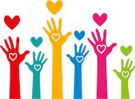 Decorative image of hands reaching for hearts