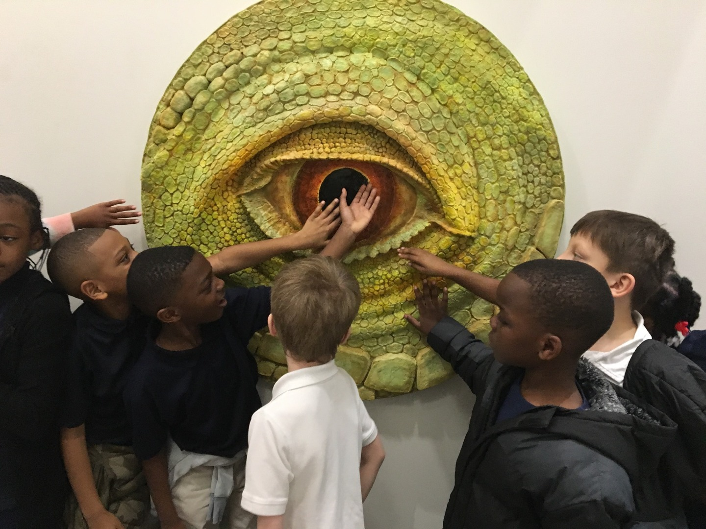 students touching reptilian relief