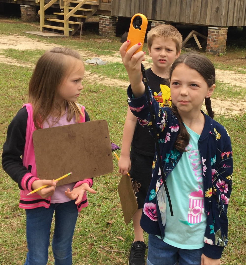 Students using Anemometers