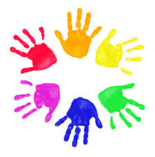 colorful handprints
