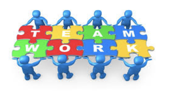 bubble people holding puzzle pieces that say TEAM WORK