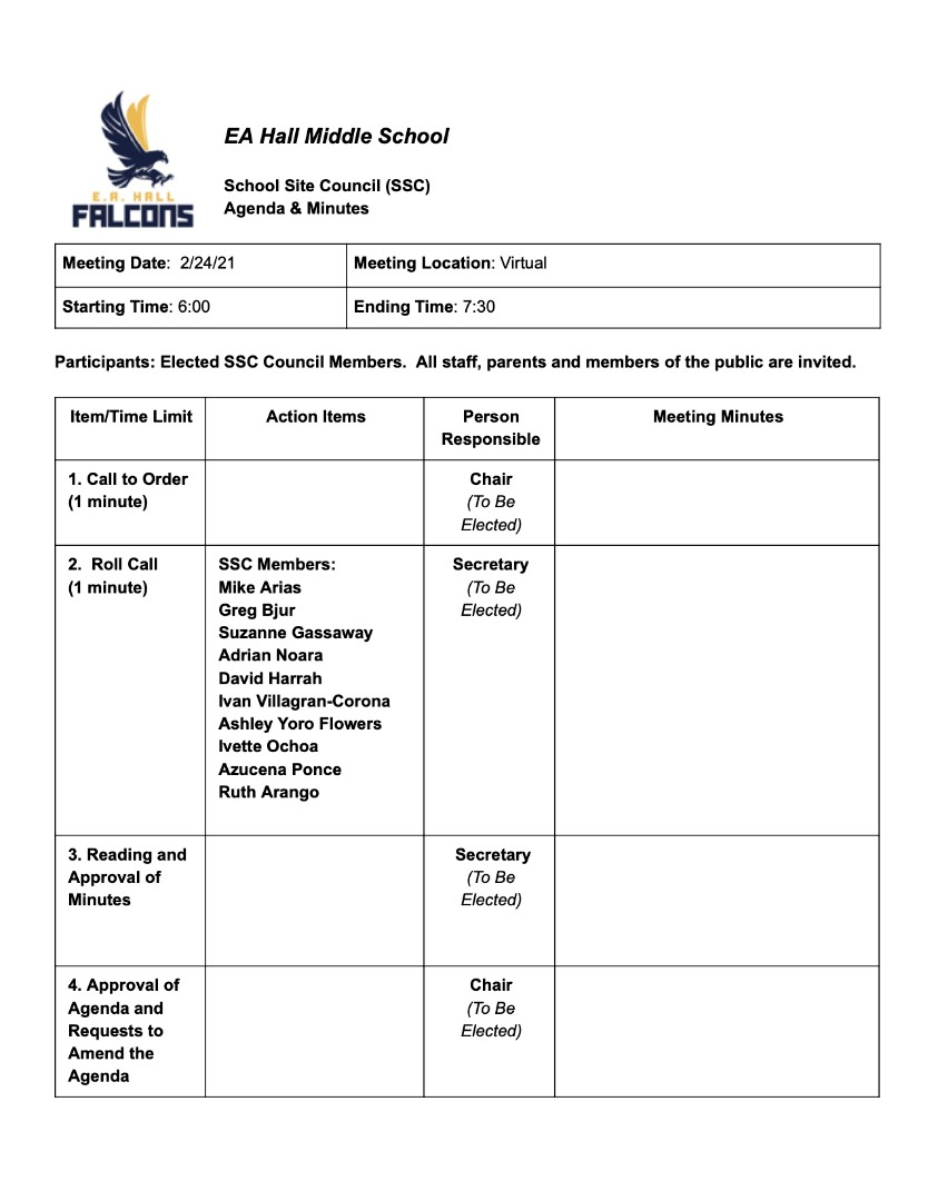 This is the agenda for our school site council meeting.