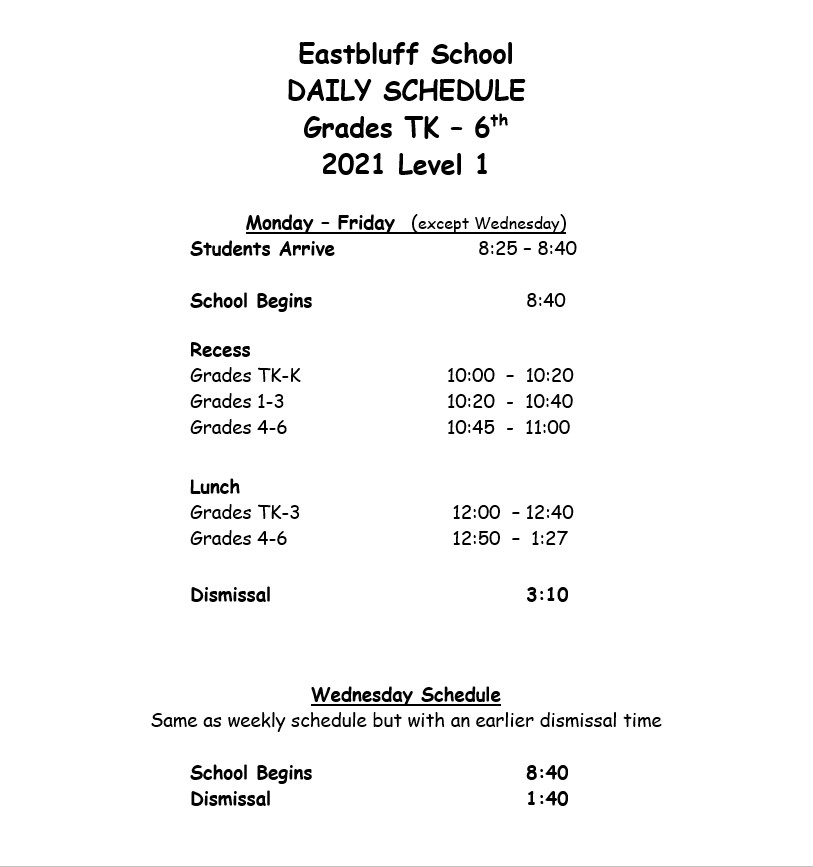 Bell Schedule for Level 1