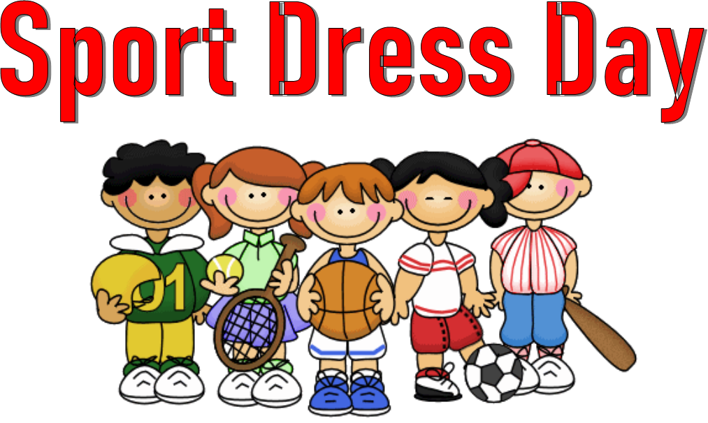 Kids dressed in various sport outfits