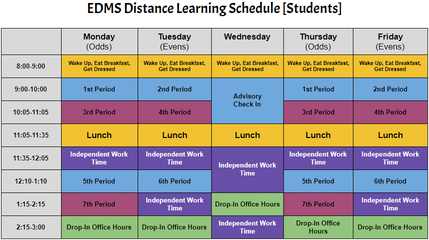 Distance Learning Student Schedule at EDMS