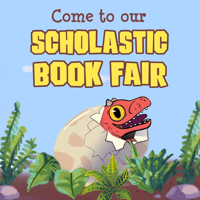 dinosaur with the words Come to Our Scholastic Book Fair