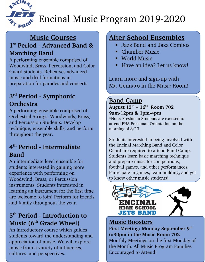 Encinal Music Program 2019-2020