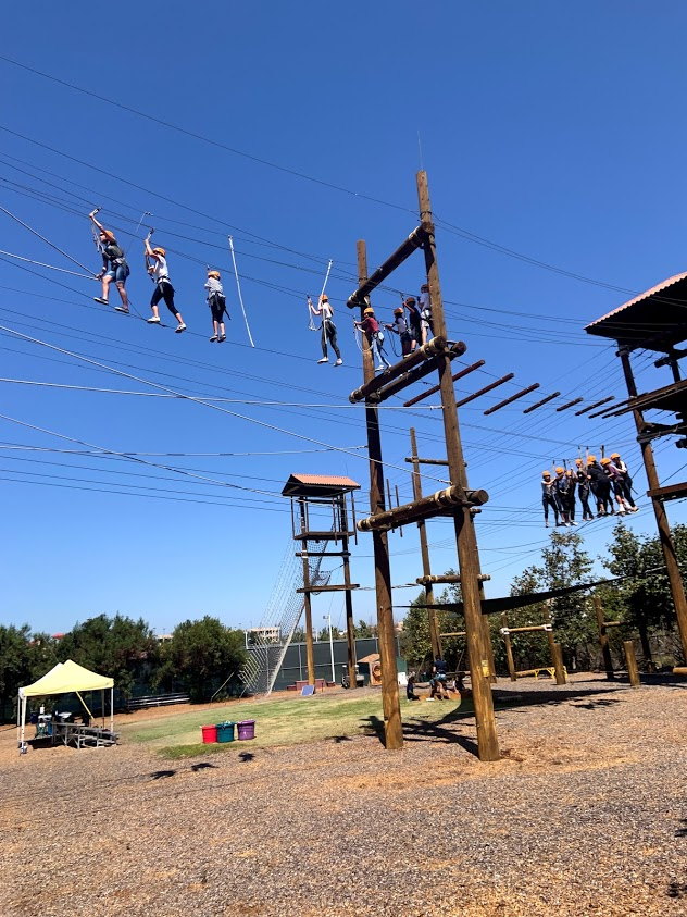 students on rope course