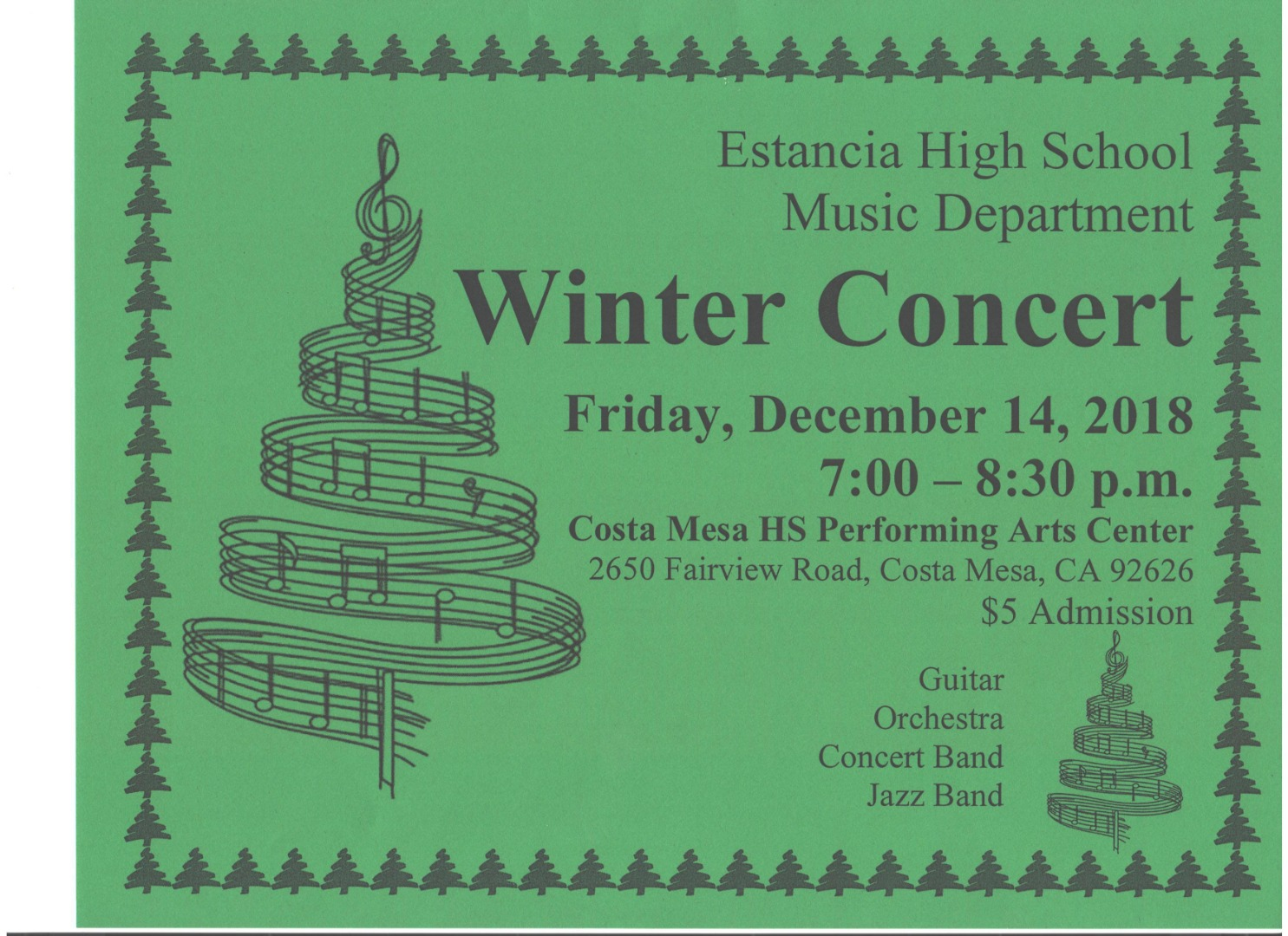 Winter Concert, Friday December 14, 2018 at 7pm at the CMHS Theater