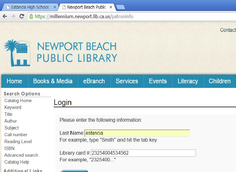 information for Newport Beach Library