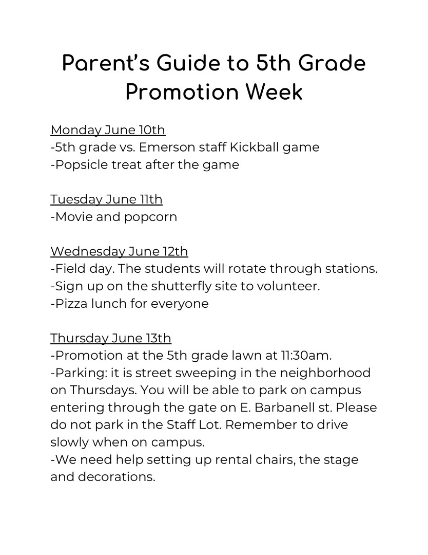 Parent's 5th Grade Promotion Week Guide