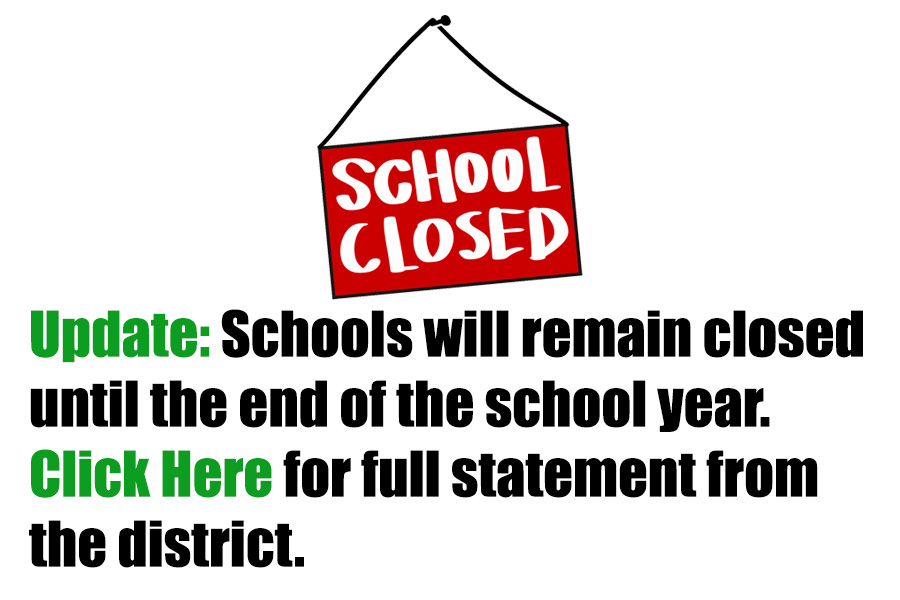 school closed sign text indicating school closure information