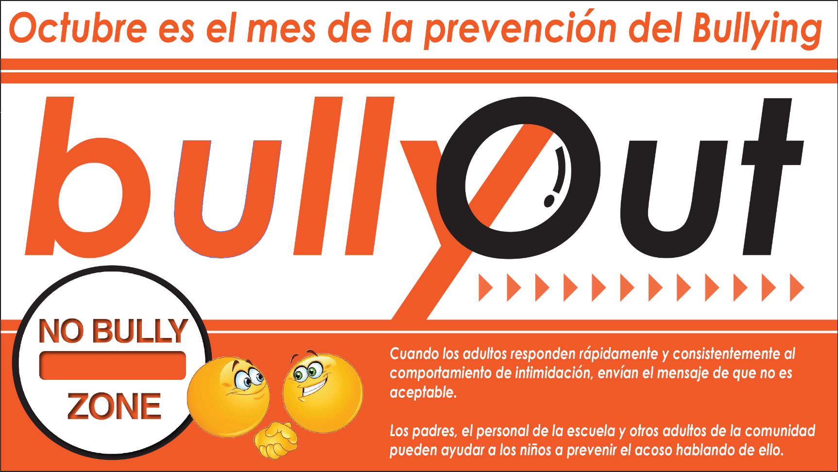 Bully prevention month graphic in Spanish
