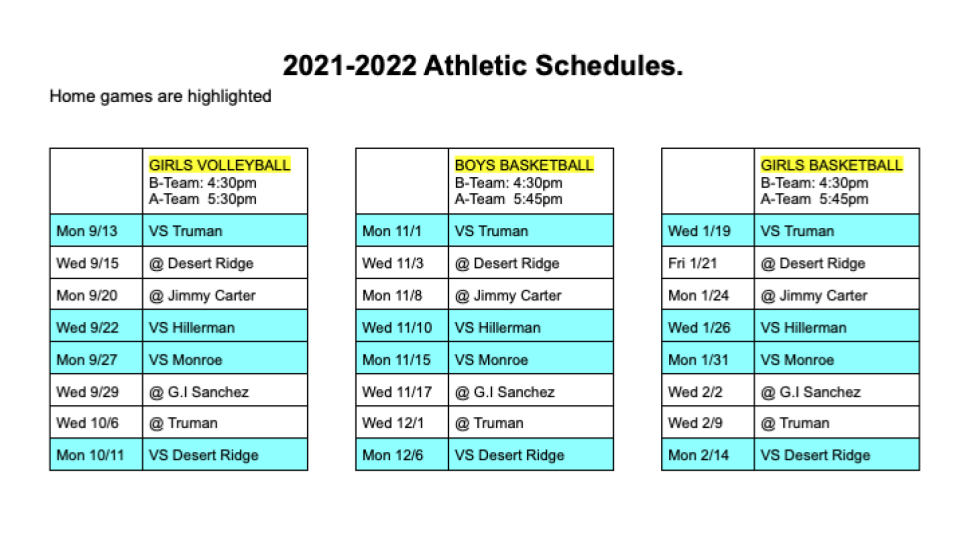 2021-2022 Athletic schedules for EMS