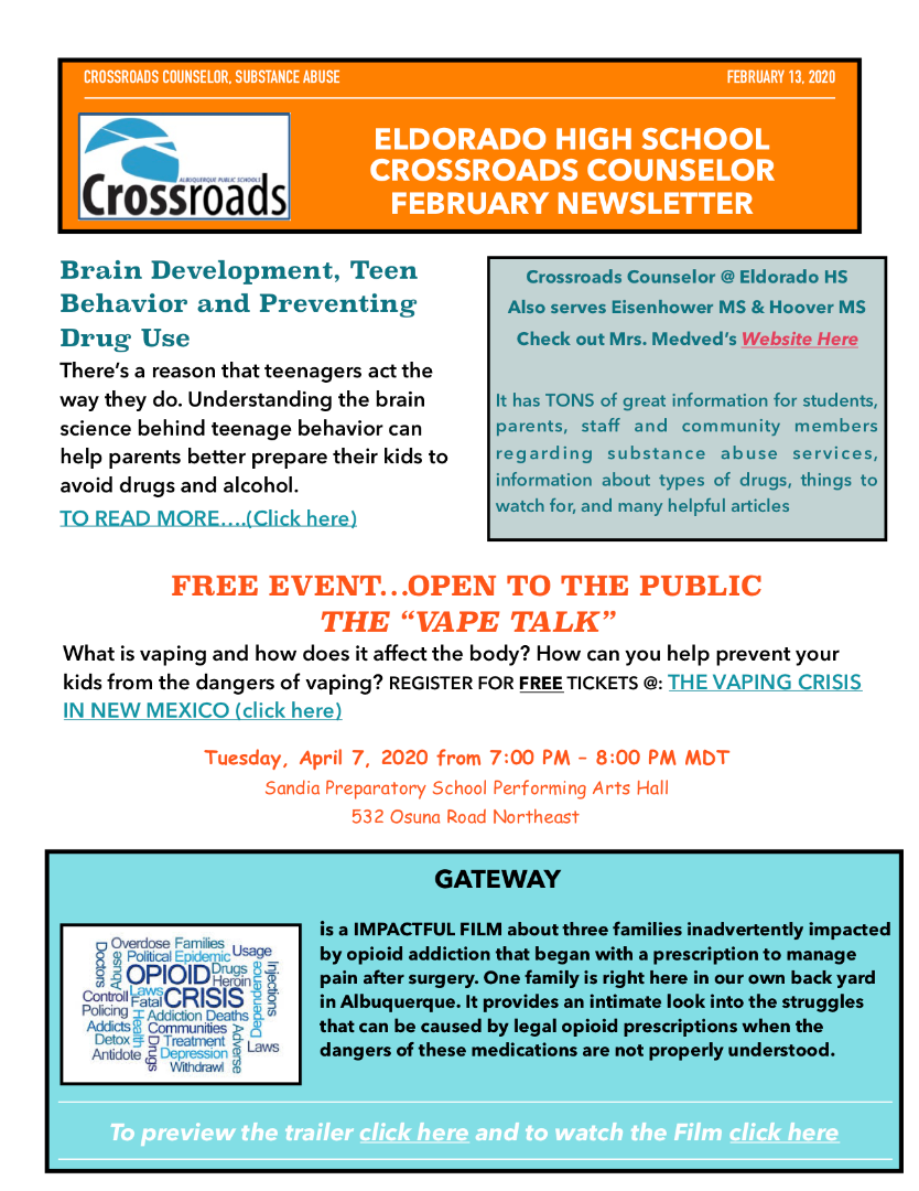 Crossroads Substance Abuse Counseling Newsletter for February 2020