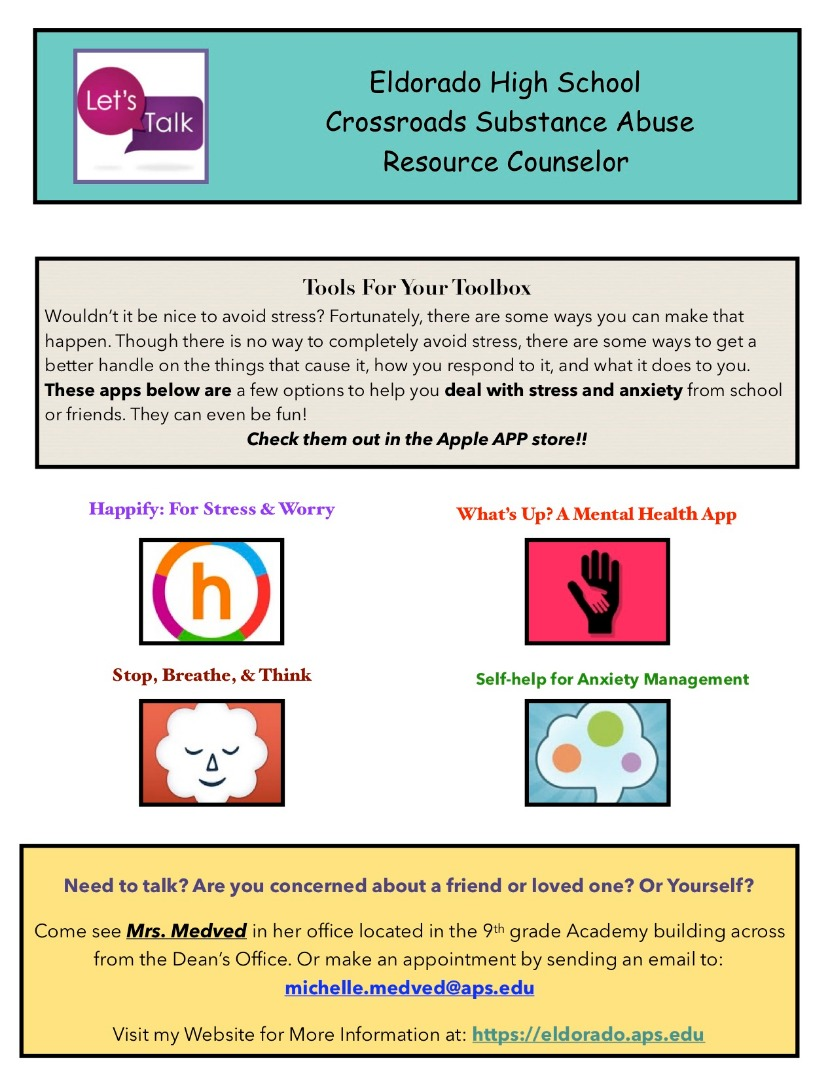 Flyer for Crossroads Substance Abuse Resource counselor