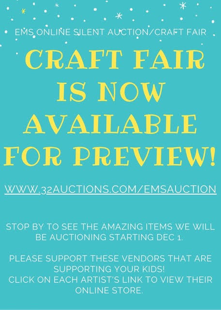 Flyer for online silent auction/craft fair preview