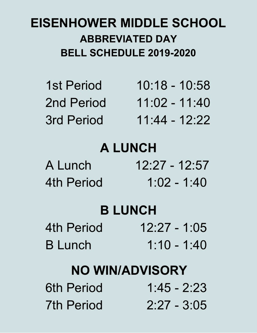 jpeg document of abbreviated day bell schedule
