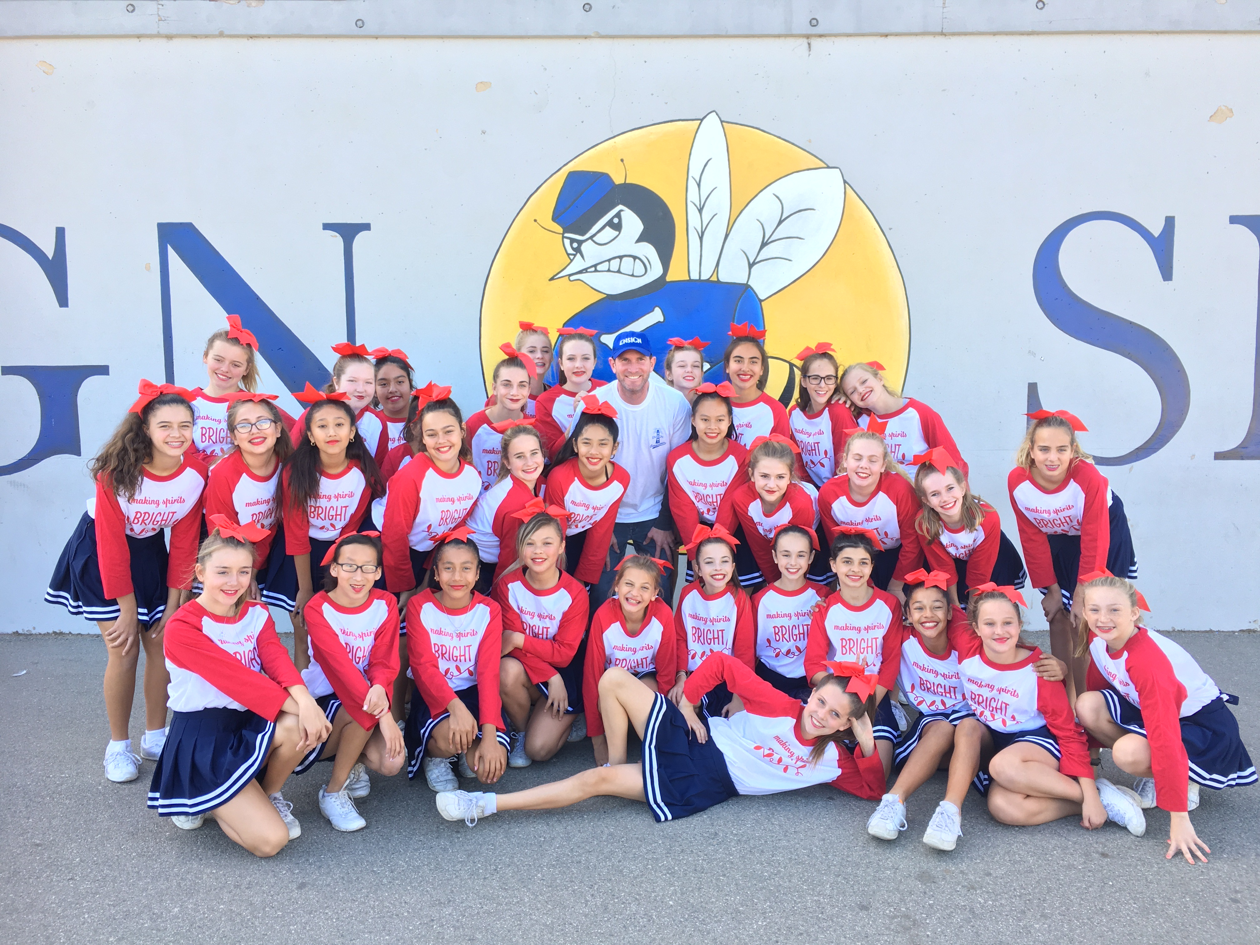 Ensign cheer squad with Mr. Sciacca