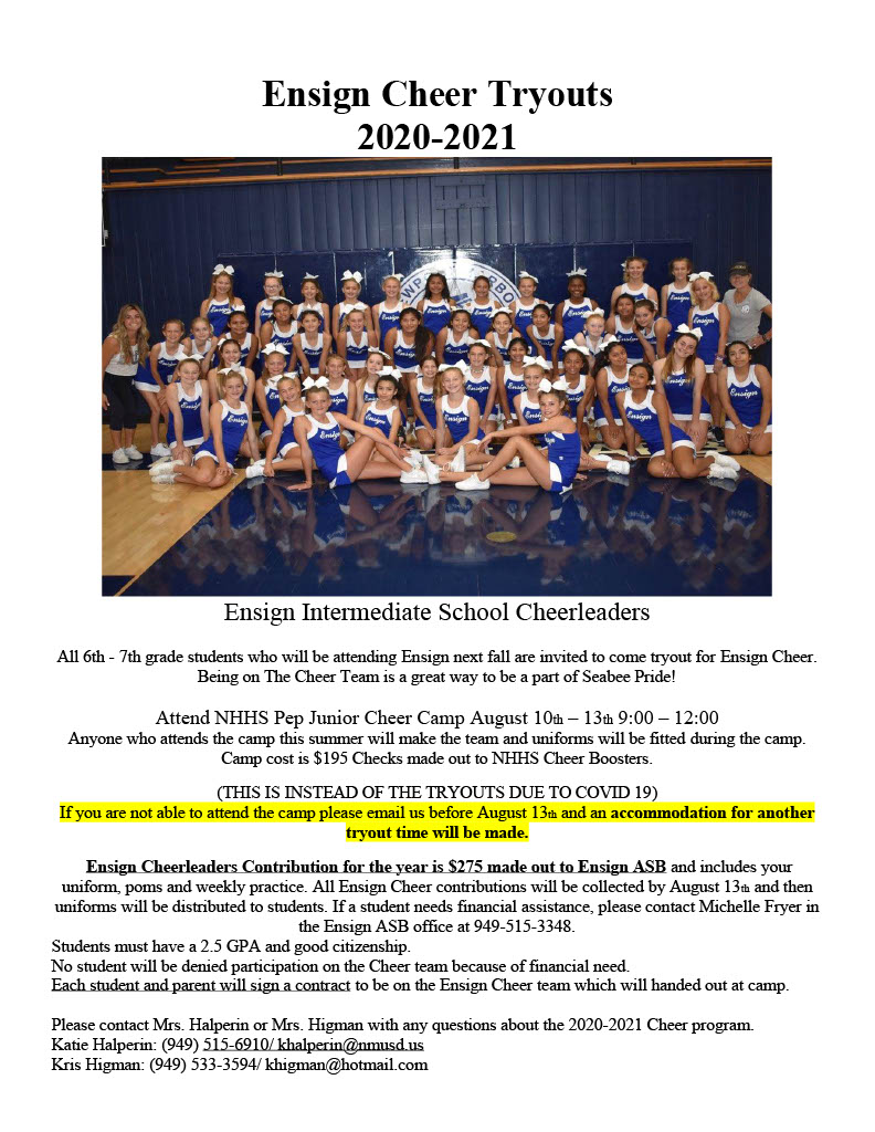 Ensign Cheer Tryout Flyer