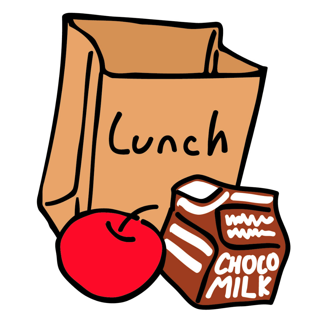 Drawing of lunch bag with apple and milk