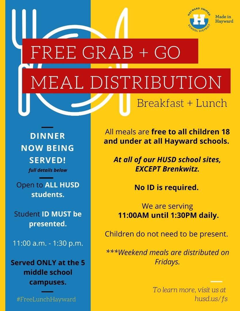 Staring 9/2020, free lunch for all 18 and under at all HUSD schools